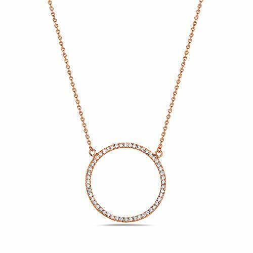 925 Sterling Silver Circle of Life White CZ Pendant Necklace