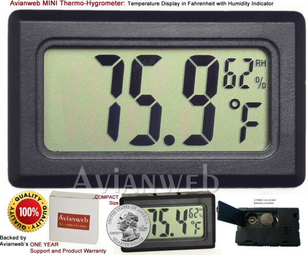 Avianweb MINI Thermo-Hygrometer: Digital Temperature Display in Fahrenheit and H