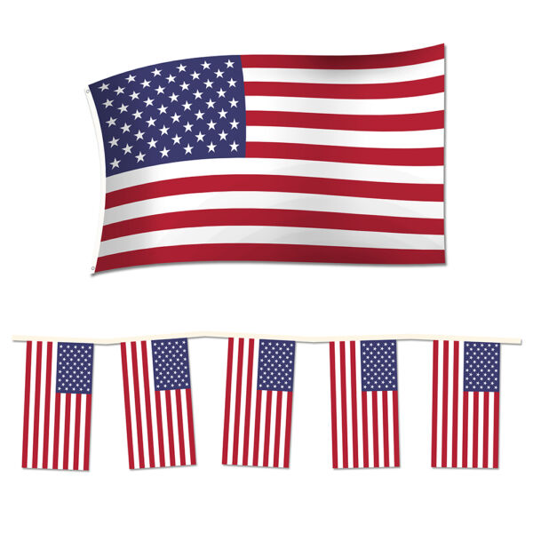 4th of July Independence Day Party Pack. 2 Rectangle USA Bunting  American Flag