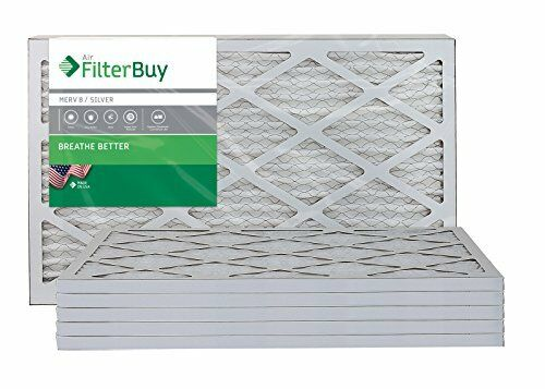 AFB Silver MERV 8 16x25x1 Pleated AC Furnace Air Filter. Pack of 6 Filters. 100%