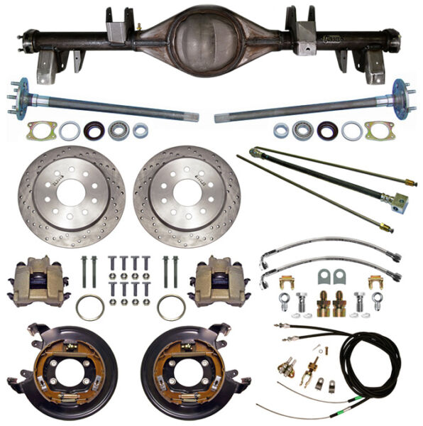 CURRIE 65-70 IMPALA REAR END & DRILLED DISC BRAKESLINESE-BRAKE CABLESAXLES++