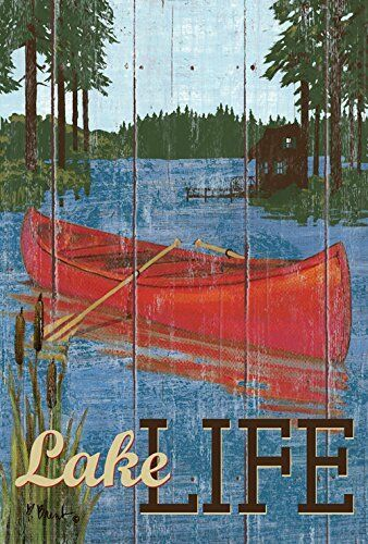 Toland Home Garden Rustic Lake Life 28 x 40-Inch Decorative USA-Produced House F