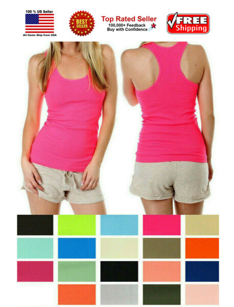 Women Lady Soft Seamless Ribbed Racer Back Stretch Tank Top Yoga Hot Tee Layer $6.99