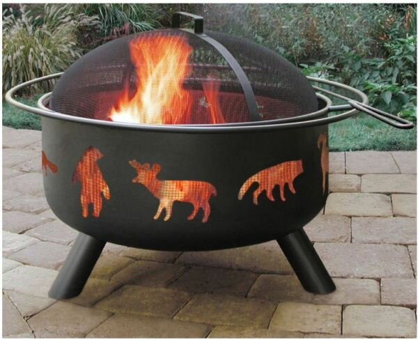 Landmann Big Sky Fire Pit Outdoor Fireplace Backyard Steel Black Patio Heater