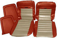 Mustang Deluxe Pony Seat Trim Kit Emberglow & Parchment 65 66 1965 1966 Fastback