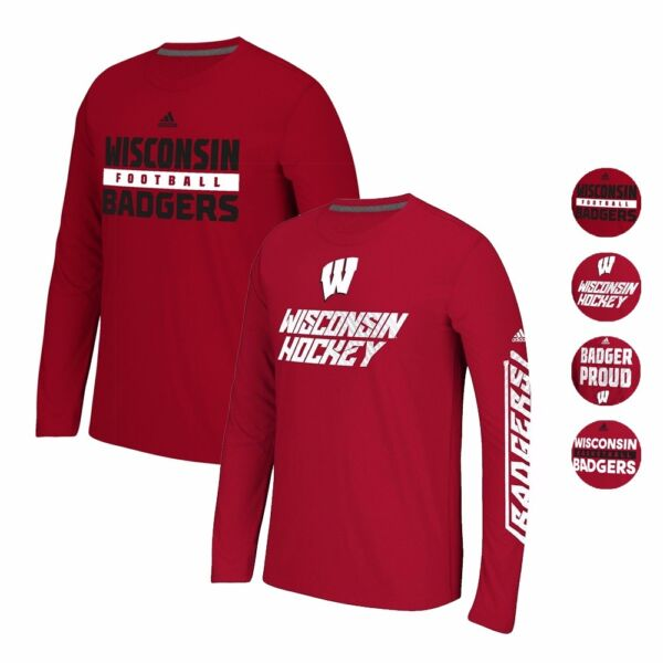WISCONSIN BADGERS ADIDAS CLIMALITE ULTIMATE PERFORMANCE LONGSLEEVE SHIRT MEN'S