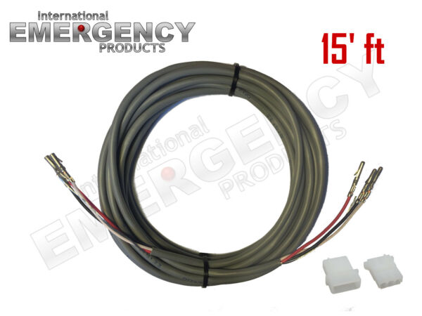 15#x27; ft Strobe Cable 3 Wire Power Supply Shielded for Whelen Federal Signal Code3
