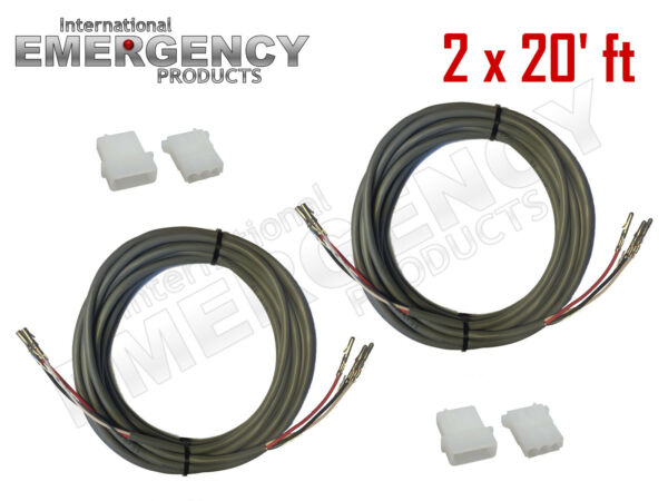 2x 20' ft Strobe Cable 3 Conductor Wire AMP Power Supply w Connector for Whelen