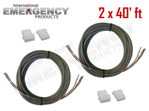 2x 40' ft Strobe Cable 3 Conductor Wire AMP Power Supply w Connector for Whelen
