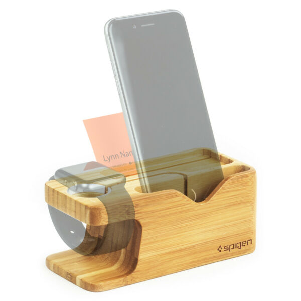 Spigen® Apple Watch and iPhone Stand [S370] Bamboo Charging Dock Station Case