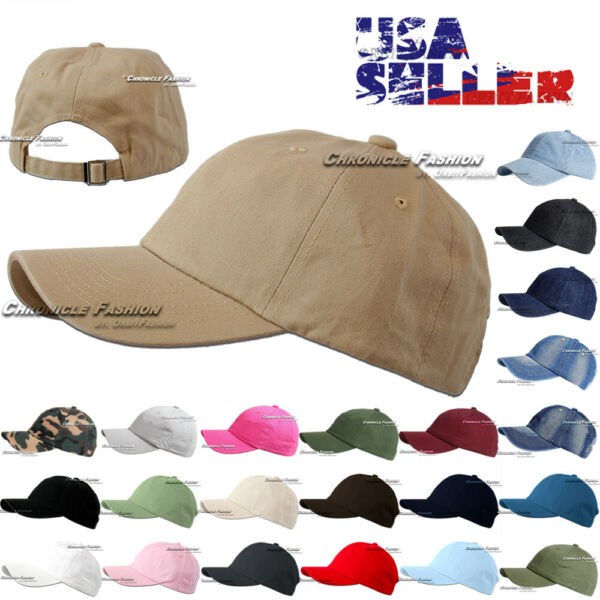 Baseball Cap Washed Cotton Hat Polo Style Adjustable Solid Plain Men Dad Hats $6.75