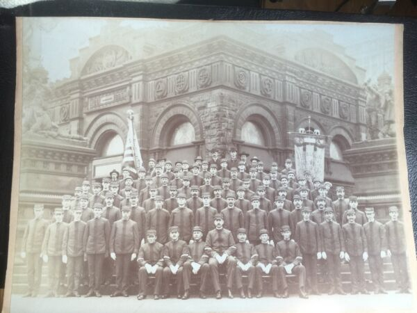 Large Albumen Photo Tippecanoe Cleveland Soldiers Sailors Monument GOP Harrison