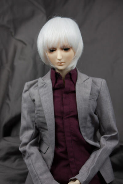 Doll Wig Short Straight Snow White BJD Ball Jointed Doll Size 6-7 8-9