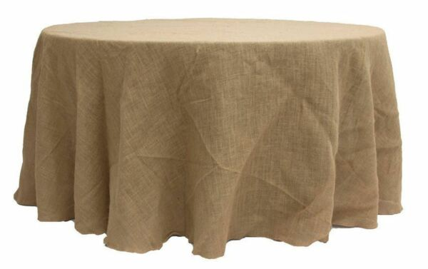 96quot; ROUND Natural BURLAP TABLECLOTH Table Cover Wedding Party Catering rustic