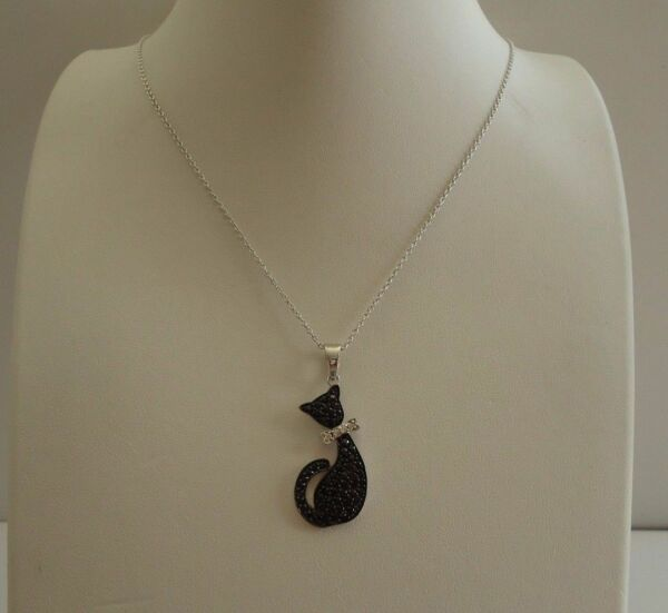 925 STERLING SILVER BLACK CAT NECKLACE PENDANT W 2.50 CT ACCENTS18''
