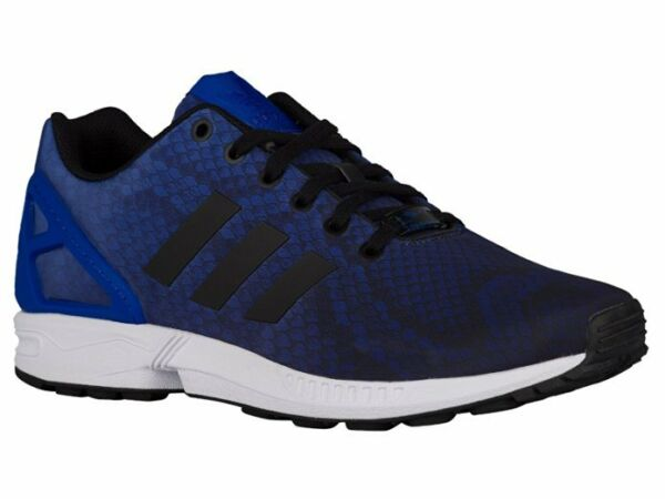 Mens Adidas Originals ZX Flux Decon Sneakers New, Bold Blue / Snakeskin aq6606