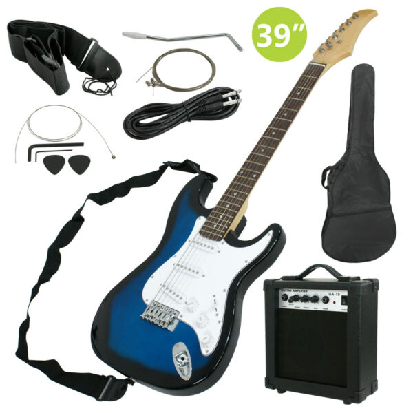 Full Size Blue Electric Guitar with Amp Case and Accessories Pack Beginner $102.98