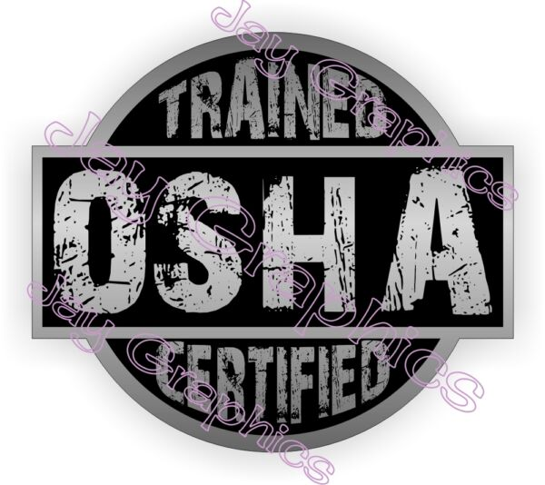 Silver OSHA Trained Certified Hard Hat Decal / Helmet Sticker / Safety Label USA