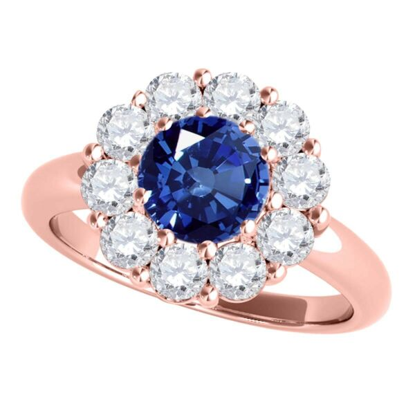 1.90Ct. Halo Sapphire And Diamond Engagement Wedding Ring In 10K Solid Rose Gold