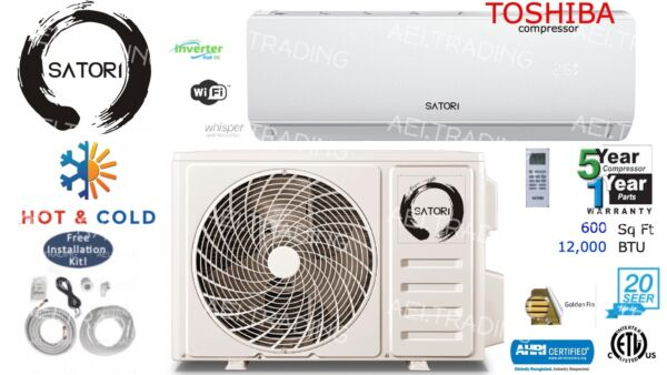 12000 BTU Ductless Air Conditioner Heat Pump Mini Split 110V 1Ton W Kit amp; Wifi $520.00