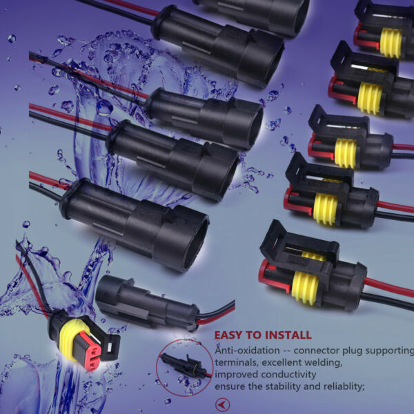 10 Set 2 Pins Car Waterproof Electrical Connector Plug with Wire 20AWG Marine US
