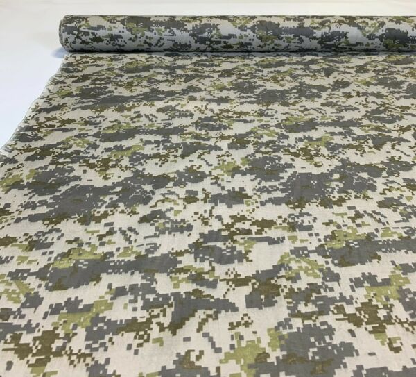 Green Gray Digital Camo Print Quilt Fabric Craft Apparel Upholstery 45quot;W #9959G
