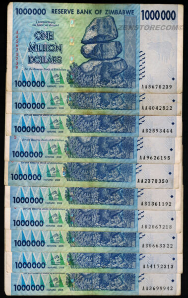 Zimbabwe 1 Million Dollars x 10 Banknotes AA AB 2008 [10PCS] Currency Bundle Set