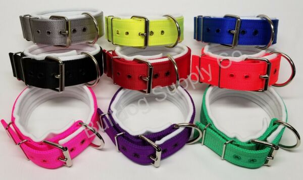 2quot; 3 Ply White Padded Nylon Heavy Duty Dog Collar for Pit Bull amp; Large Breeds $26.00