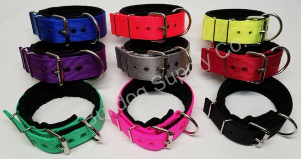 2quot; 3 Ply Black Padded Nylon Heavy Duty Dog Collar for Pit Bull amp; Large Breeds $26.00