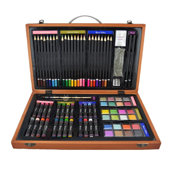 Sketch Drawing Art Set Painting Color Artist Kit Pencil Pastel Wood Case 80 Pcs