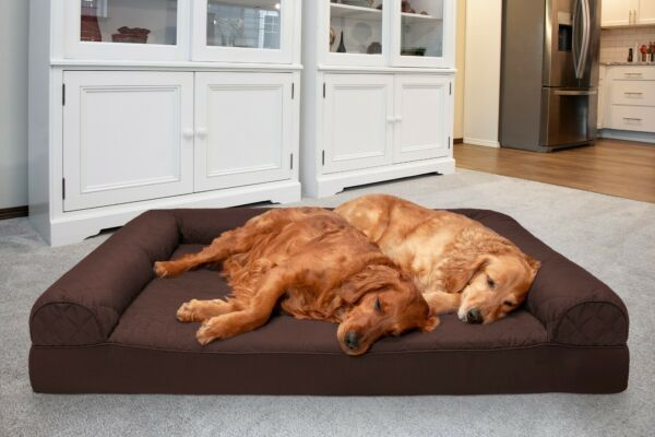 FurHaven Pet Cooling Orthopedic Memory Foam Quilted Bolstered Sofa Dog Bed $21.99