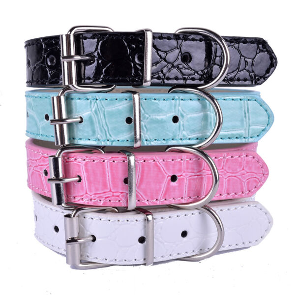 Fashion Croc Leather Dog Collar Buckle Collars For Dogs Small Pet Supplies 2SIZE $2.41