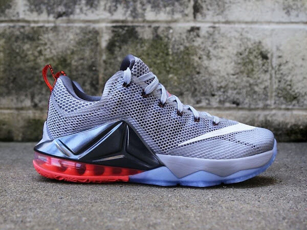 Mens Nike Air Lebron XII Low Sneakers New, Grey / Lava 724557-014