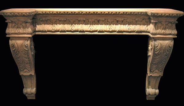 Acanthus Fireplace Mantle faux stone marble travertine art home decor carved