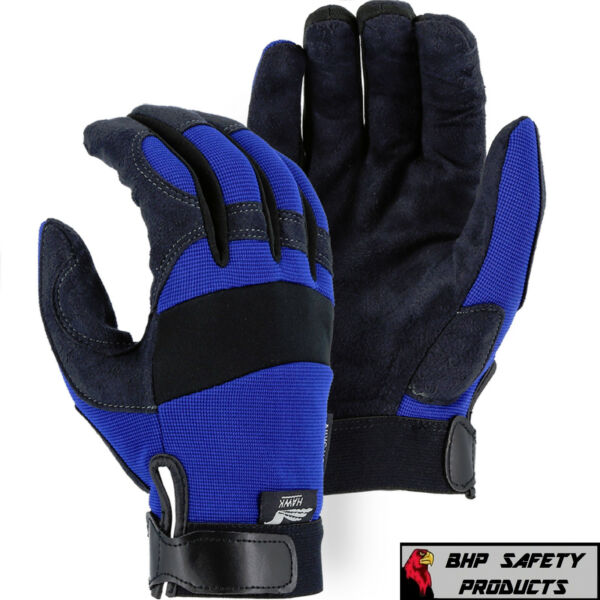 MAJESTIC GLOVE ARMORSKIN 2137BL SYNTHETIC LEATHER MECHANICS WORK GLOVES (S-XL)