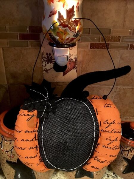 Pumpkin Burlap Door Wreath Wall Hanging Fall Harvest Autumn Pumpkin Wall Decor
