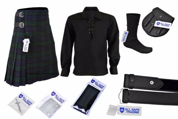 Mens Scottish 9 Piece 8 Yards Kilt Outfit with Sporran, Black Watch Tartan Kilt