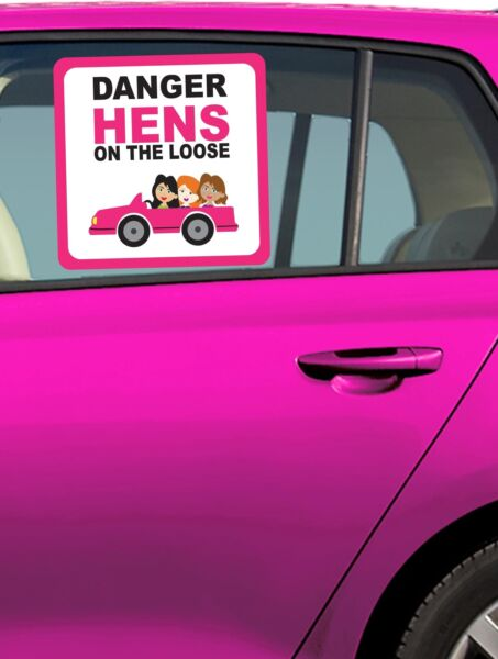 DANGER HENS ON THE LOOSE HEN PARTY CAR STICKER CAR DECORATIONS HEN NIGHT