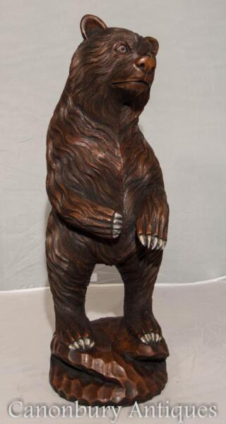 Hand Carved German Black Forest Bear Statue