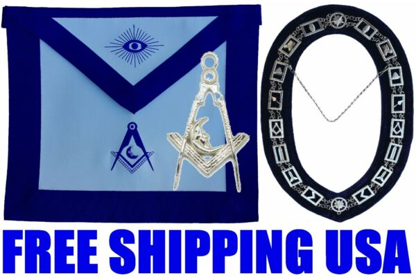MASONIC COLLAR JUNIOR DEACON APRON with SILVER Collar JEWEL Package 4 $79.99