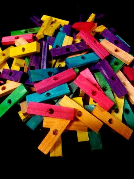 50 Wood Blocks 2quot; Colored Wooden Parrot Bird Toy Parts W 1 4quot; Hole