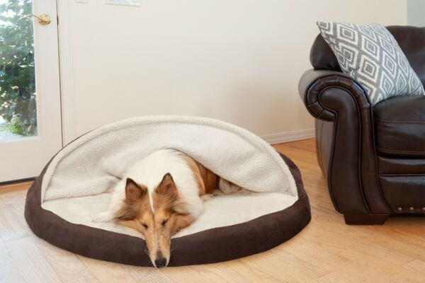 FurHaven Pet Cooling Orthopedic Memory Foam Sherpa Snuggery Cozy Cave Dog Bed $28.99