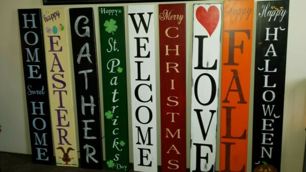Large Rustic Wood Porch Sign Home Sweet Home 48quot; Reversible Double Side Vertical $80.00