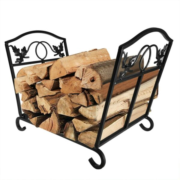 Amagabeli Fireplace Log Holder and Carrier Birch Logs Bin Fire Place Wood Stove