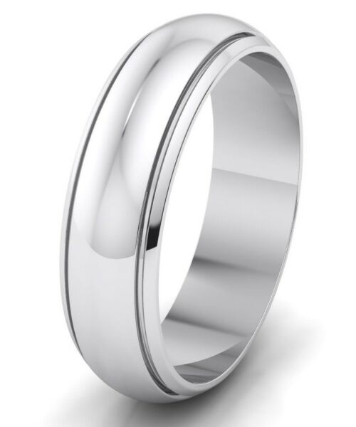6mm Wedding Band Ring Stainless Steel Half Round Polished Grooved Traditional.