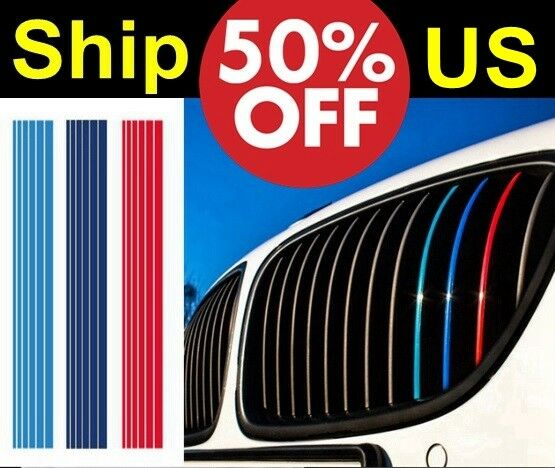 US SELLER pre-cut 3-color vinyl Grill Stripe Sticker for BMW M class