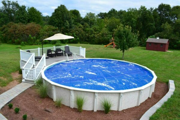 18#x27; Round Above Ground Blue Swimming Pool Solar Cover Blanket 1200 Series