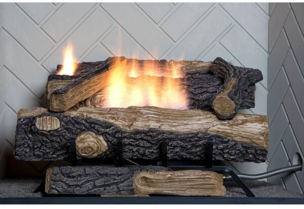 Emberglow Oakwood 24 In. Vent-Free Propane Gas Fireplace Logs With Thermostatic