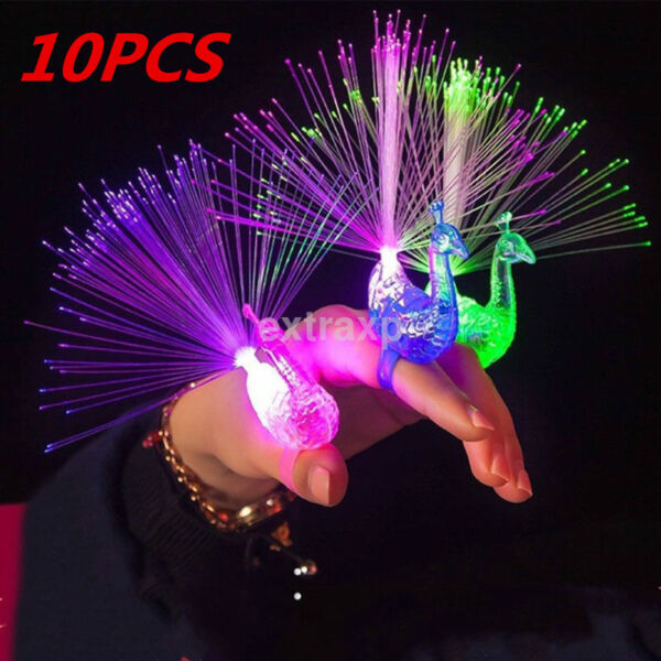 10PCS Finger Light Ring Laser LED Party Rave Favors Glow Beams Fun Peacock Toy