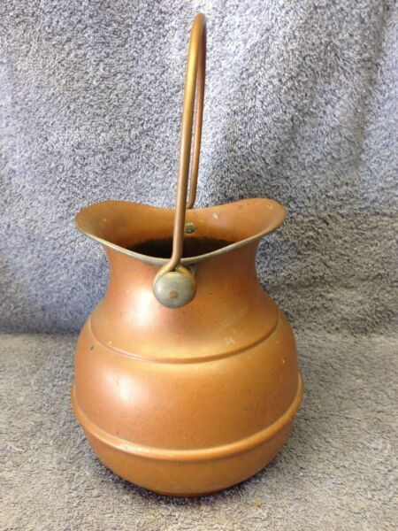 Primitive Vintage Heavy Copper Pail  Pitcher  Vase Extremely Well Made
